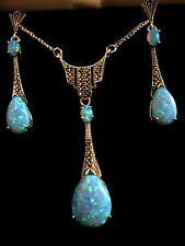 1920s Deco style Blue Gilson Opal Marcasite Art Deco Necklace & Earrings Set Box