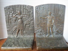 Bronze JUDD Bookends DIANA THE HUNTRESS w/Borzoi Dog signed A DLOUHY Rare Pair