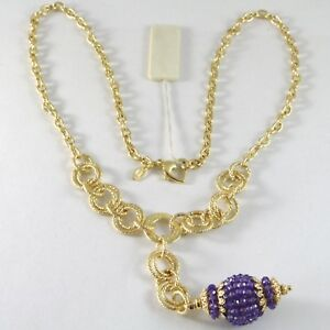 Necklace Silver 925 Yellow Gold Plated With Pendant Milled And Amethyst