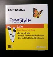 FREESTYLE LITE TEST STRIPS 100 CNT EXPIRY 12/2020 BRAND NEW SEALED ** FREE SHIP*