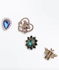 4 Pack Animal Flower And Teardrop Brooch Set Gemstone Embellished