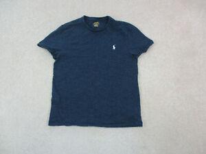 Ralph Lauren Polo Shirt Adult Medium Blue White Pony Logo Cotton Casual Mens A22