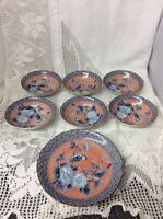 Stunning Set Of 6 Fruit/Dessert/Cereal Bowls With Larger Deep Plate/Bowl