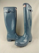 Hunter Original Tall Gloss Light Blue Waterproof Rain Boots Women's Size 8 US