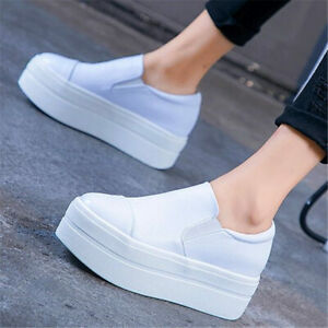 Oxfords Women Cow Leather Round Toe Ankle Boots High Heel Platform Creeper Pumps