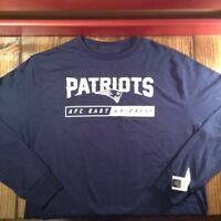 NFL Team Apparel New England Patriots AFC East Go Pats! L/S T Shirt NEW Large/sm