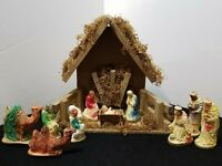ANTIQUE VINTAGE 1950s NATIVITY SET 12 PIECE FIGURINES AND MANGER WITH MUSIC