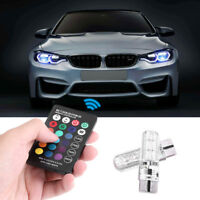 2pcs 12V T10 LED Remote Control W5W 501 RGB Color Car Wedge Side Light Bulbs GW