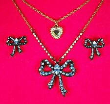 Betsey Johnson Vintage Blue Hearts Bow Necklace with Earrings