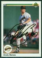 Original Autograph of Andy Benes of the Padres on a 1990 Upper Deck Card