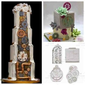 Steampunk Gear Cog Watch Wheel Clock Fondant Silicone Mould Cake Sugarcraft Mold