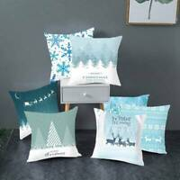 "Blue Christmas Winter Cushion Cover Pillow Case Cotton Sofa Home Decor 18"" L.wXy"