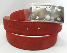 Marco Valentino Red Suede w/Red Stitching Leather Belt Waist Size 43 in.