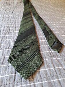 100% Wool Handwoven Vintage Tweed Tie GCTC Made In Ireland Green