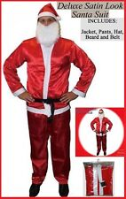 SANTA CLAUS 5pc COSTUME Deluxe Satin Look ADULT SUMMER SUIT Father Christmas NEW