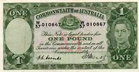 1949 Australia KGVI 1 Pound Coombs/Watt RARE PREFIX W/37 010867  VF