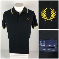 Fred Perry Mens Small Polo Shirt Black Yellow 100% Pique Cotton Embroidered Logo
