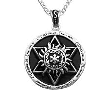 Silver Hexagram Rune Pendant Stainless Steel Long Chain Gothic Necklace