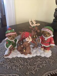 CHERISHED TEDDIES 2010 FIGURINE, BILL, BERNIE, LE, ELVES, REINDEER, 4016864, NIB