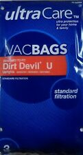 UltraCare Vacuum Bags for Dirt Devil type U Upright - 3 pk Brand New