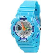 EXPONI Women's PVC Plastic Strap Sports Analog Digital Watch 3212ME -AQUA BLUE