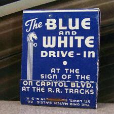 Vintage Matchbook M7 Blue White Drive In Horses Railroad Tracks Union 76 Gas Oil
