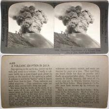Keystone Stereoview Volcano Erupting in JAVA, Dutch E I From RARE 1200 Card Set