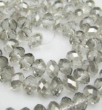 Jewelry Faceted 50pcs Rondelle glass crystal #5040 4x6mm Bead Plating Gray F8W37