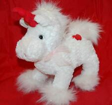 "White Unicorn Red Heart Horn Mystical Fluffy Sparkle Tail 8"" Plush Stuffed Lovey"