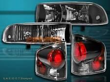 98 99 00-04 CHEVY S10 PICKUP JDM BLACK HEADLIGHTS + DARK SMOKE TAIL LIGHTS