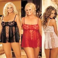 Plus Size Lingerie One Sz Queen Black Red or White Valentine Babydoll SOH96120Q