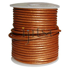 3mm round metallic Copper genuine leather cord 5 yards section