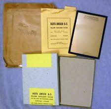 NEW Vtg AGFA ANSCO A-5 Yellow Safelight Filter Glass 5 X 7 Convira Cykon 1952