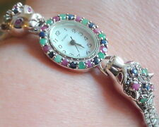 NATURAL! EMERALD,SAPPHIRE,RUBY  WATCH 159.85 CT 925 STERLING SILVER 7.5 inch.