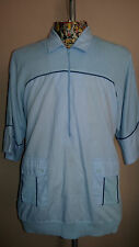 Vintage 1970's Men's Blue Cotton Short Sleeved Top. Size XL.