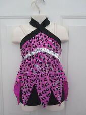 Hot Pink Black Silver Animal Print Dance Costume XS Child 4 5 New