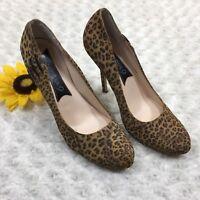 "Boutique 9 Womens Leopard Print Pumps Size 9.5 Stiletto Slip On 5"" Heels BR5215"