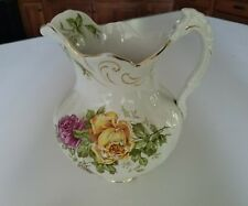 Early antique Buffalo Pottery white pitcher pink yellow roses