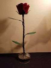 Recycled metal  single STANDING ROSE 19 Inch Tall weighted rock bottom