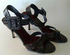 Ann Marino Women Snakeskin Open Toe Heels Leather Grey Size 10M ankle strap