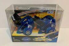 Razor Jetts Heel Wheels Dlx Blue Real Sparking Action Light Up Roll n Spark New