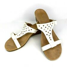 Vionic Maggie Women Size 10 Orthaheel White Studded Cut Out Leather Slide Sandal