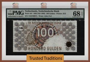 TT PK 101 1992 NETHERLANDS 100 GULDEN MONSTER GRADE PMG 68 EPQ SUPERB GEM