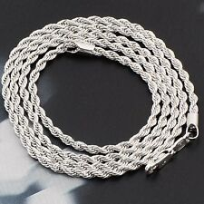Classic 18K White Gold Filled For Womens Men's Rope Chain 24'' long Necklace