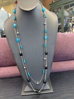 Long Sweater Necklace Turquoise blackbeaded rhinestone silver tone 30""