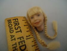 Tiny Miniature Dollhouse Sculpted OOAK? Doll Head Long Blonde Braids