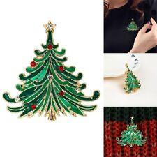 Brooch Christmas Rhinestone Pin Vintage Santa Clip Jewelry Tree Coat Cap
