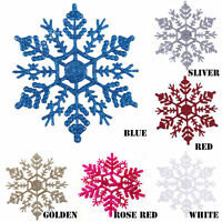 Pack of 12x Glitter Snowflake Christmas Ornaments Xmas Tree Hanging Decorations