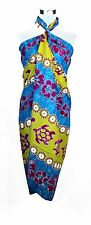 Tropical Cruise Beach Luau Sarong Wrap Dress Pareo Swimwear Rainbow Floral Pink