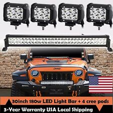 "30inch 32"" LED Light Bar Spot Flood + CREE 4"" Pods Offroad Fog SUV 4WD Wrangler"